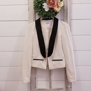 Candies black and white blazer jacket bow detail